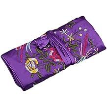 WEI LONG@Jewelry Roll, Travel Jewelry Roll Bag,Silk Embroidery Brocade Jewelry Organizer Case with Tie Close (Blossom, Dark Purple)