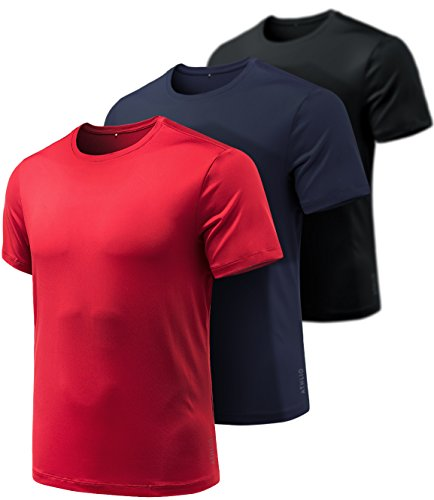 ATHLIO AO-CTS10-KRN_Large Men's Quick-Dri Fit Tee (Pack of 3) 100% Full Refund Assurance Performance Short Sleeve Mesh Top Crew Athletic T-Shirts CTS10 (Short Sleeve Full T-shirt)