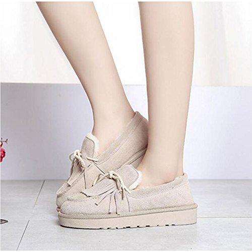 warm Eastlion Grey Deck shoes Flat Winter Slip Shoes Fleece on Winter Keep Boots Women's Boat gtw1Srgq