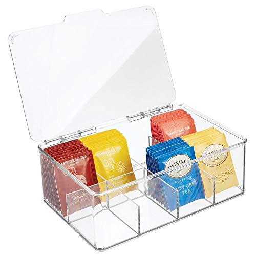 mDesign Caja para te con 8 Compartimentos – Caja para Bolsas de te con Tapa abatible para Proteger el Contenido – Caja de plastico para Guardar te e infusiones – Transparente