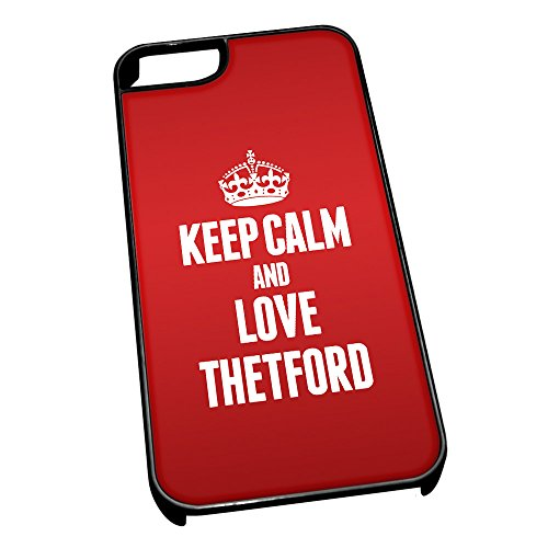 Nero cover per iPhone 5/5S 0646 Red Keep Calm and Love Thetford