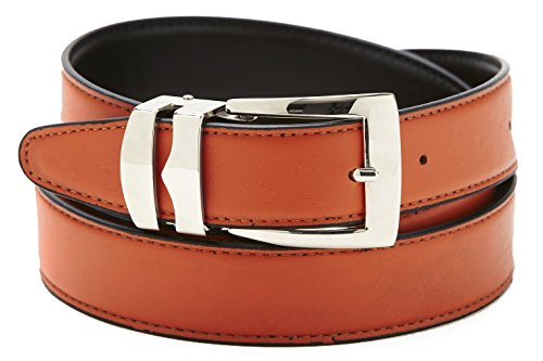 Silver Tone Buckle (Reversible Belt Bonded Leather Removable Silver-Tone Buckle ORANGE / Black)