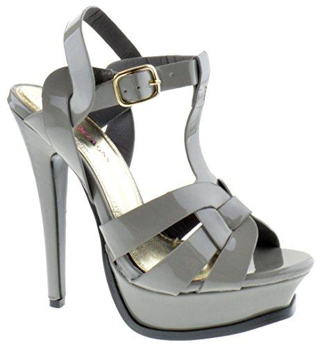 High Lauren Heels (Shoe Dezigns Lauren 87 Womens Strappy Square Toe Patent Platform Space Grey 8.5)