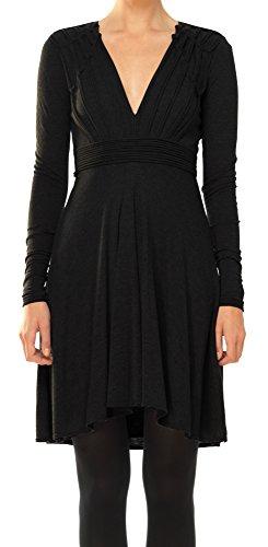 MAXSTUDIO Fine Wool Jersey V-Neck Dress with Knotted Details - 4207J54-BLACK-L (Knotted Jersey Dress Black)