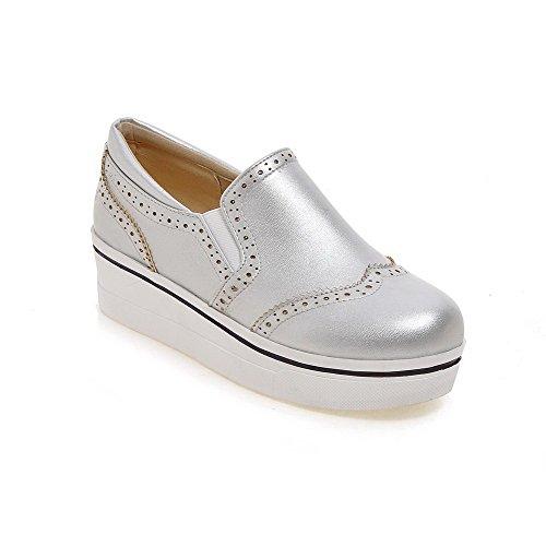 Amoonyfashion Donna Pull On Tacco Chiuso Tacchi Gattino Pu Pompe-scarpe Solide Argento