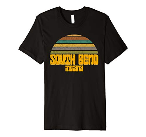 VINTAGE 70s 80s STYLE SOUTH BEND IN Distressed Graphic  Premium T-Shirt