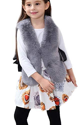 FOLOBE Child Faux Fox Fur Vest Kid Soft Gilet Girls Gray]()