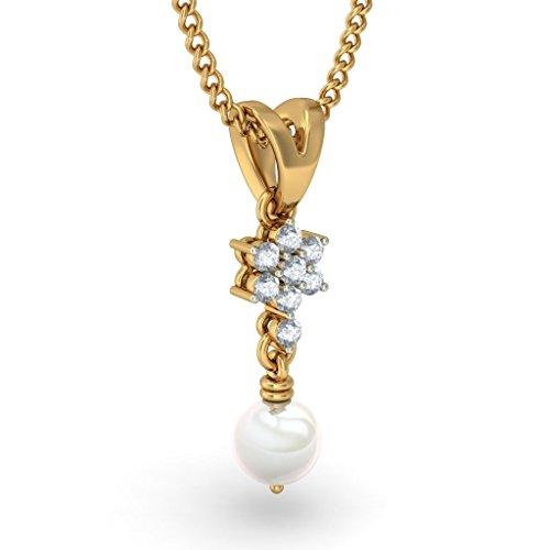 Or jaune 14K 0,2CT TW Round-cut-diamond (IJ | SI) et blanc perle Pendentif