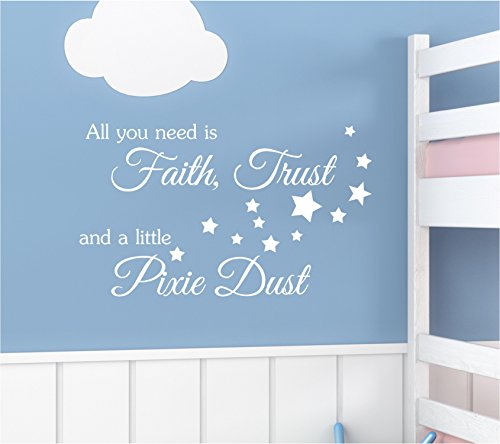 #3 All you need is faith trust and a little pixie dust wall art quotes sayings vinyl decals home inspirational love bible sticker (Pixie Dust Decor)