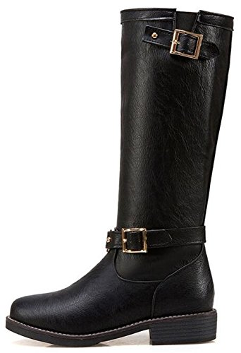 IDIFU Womens Comfy Buckle Low Chunky Heels Pull On Mid Calf Boots Combat Booties Black eZz0XUpK2y