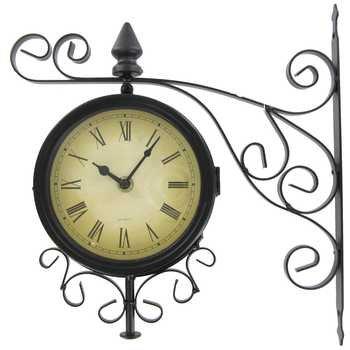 Black Metal Two Sided Bracket Wall Clock