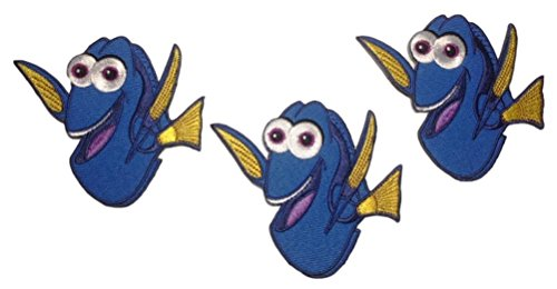 "FInding Dory ""Dory"" Character 3 1/4 Inches Tall Iron On Patch Set of 3 Patches"