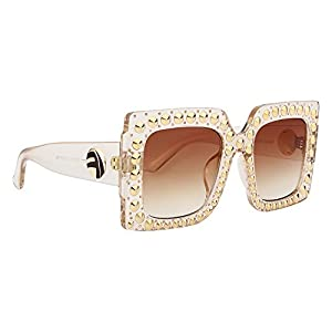 ROYAL GIRL Vintage Oversized Square Sunglasses Women Rivet Crystal-Trim Designer Shades (Brown Gradient Lens, 70)
