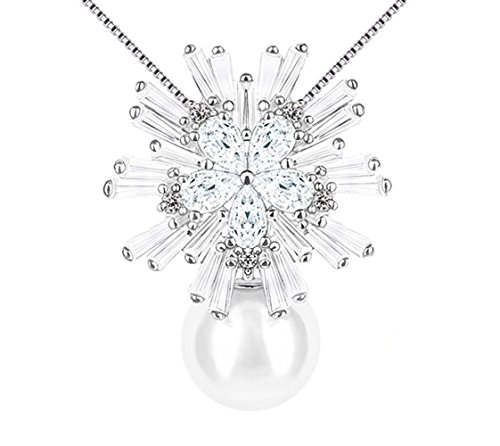 irconia Snowflake Simulated Pearl Pendant Necklace Sterling Silver Pendant Necklace ()