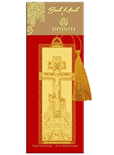 Diviniti 24Ct Gold Encased Landscape Bookmark with Ribbon for School and Offices.