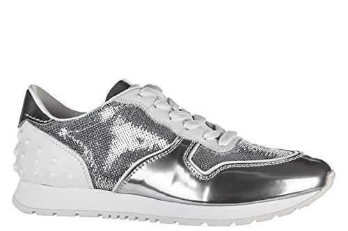 Trainers Sportivo Shoes Women's Sneakers allacciata Tod's Silver Leather 8vTPPa