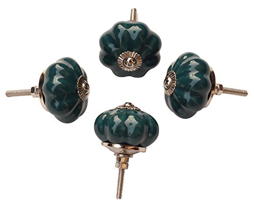 Cyber Monday Deals Week 2017   Set Of 4 Ceramic Firozi Green Pumpkin Decorative Antique Door Knobs Pulls For Cabinet Girls Dresser Kids Cupboard Kitchen Drawer Handles With Hardware Attached