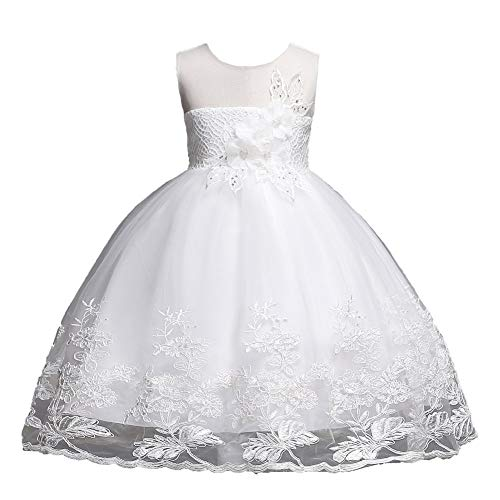 3 Toddler Dress Girls Sleeveless Chiffon Flower Pageant Princess Bridesmaid Dress for Wedding First Communion Dress Kids Lace 3D Flower Party Skirt Size 2-3 T White 110