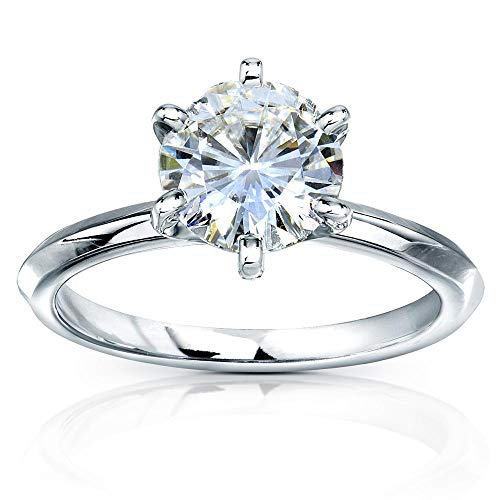 - Classic Solitaire Round Brilliant Moissanite Engagement Ring 2 Carats 14k White Gold, 6.5