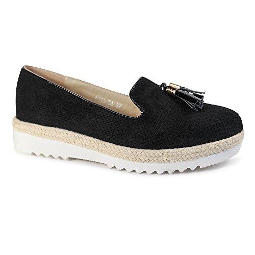 Schuhtraum Damen Slipper Plateau Sneakers Ballerinas Glitzer Nieten ST551  Schwarz Quaste efe552fce4