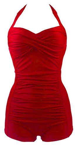 Elady Sexy Retro One Piece Monokini Wrinkles Bathing Swimsuit Women Beachwear Red (XL)