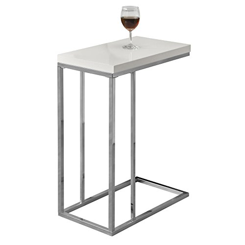 Monarch Specialties I 3008, Accent Table, Chrome Metal, Glossy White