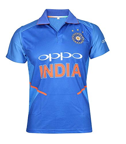 KD Cricket India Jersey Half Sleeve Cricket Supporter T-Shirt New Oppo Team Uniform Polyster Fit Material 2019-20 Kids to Adults(H/S Dhoni,52) (Best Child Names 2019)