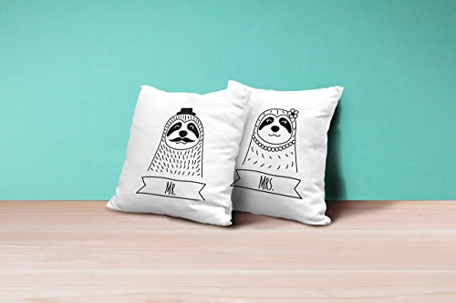 Mr and Mrs Pillowcases, Set of 2 Throw Pillow Covers, Sloth Couple Pillowcases 16x16 inch, Unique Wedding Gift for Couple, Anniversary Gift, Engagement - Mall St Lukes