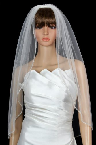 Bridal Wedding Veil Diamond (Off) White 1 Tier Fingertip Length Rhinestone ()