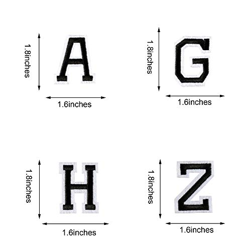 AXEN 52pcs Alphabet A to Z Patches, Iron on Sew on Letters for Clothes, Classic Black