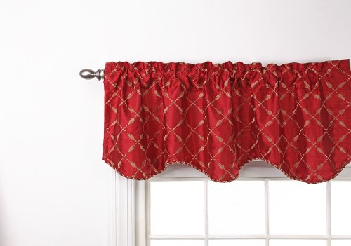 Stylemaster Renaissance Home Fashion Savoy Lined Scalloped Valance with Cording, 56-Inch by 17-Inch, Crimson