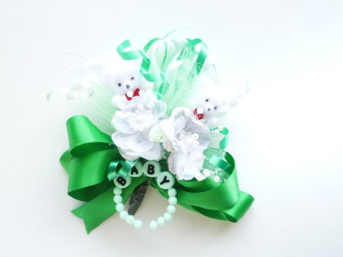 Twins Baby Shower Corsage for Mother Boy or Girl Teddy Bear Theme St Patricks Green Baby Shower (Irish Theme St Patrick's Day Green) ()