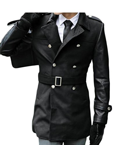 M&S&W Mens Stand Collor Thick Overcoat Pea Outwear Trench Coat Black