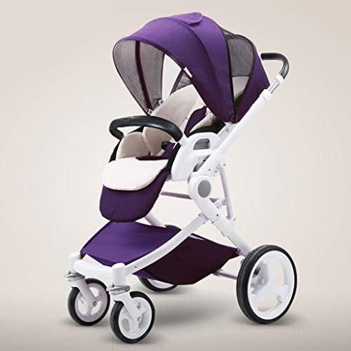 ベビーカー、コンバーチブルリクライニングベビーカー、折り畳み式ポータブルベビーカー耐衝撃性アルミフレームベビーカー、5点式安全ベルト、大容量バスケット (Color : Purple)
