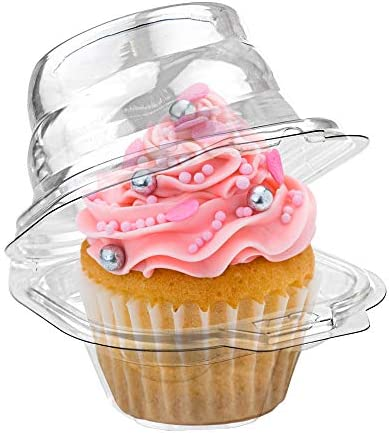 Stock Your Home Individual Plastic Cupcake Containers (100 Count) Single Cupcake Containers Plastic Disposable - Mini Fluted Cake Container - BPA Free Single Muffin Container - Cupcake To Go Container