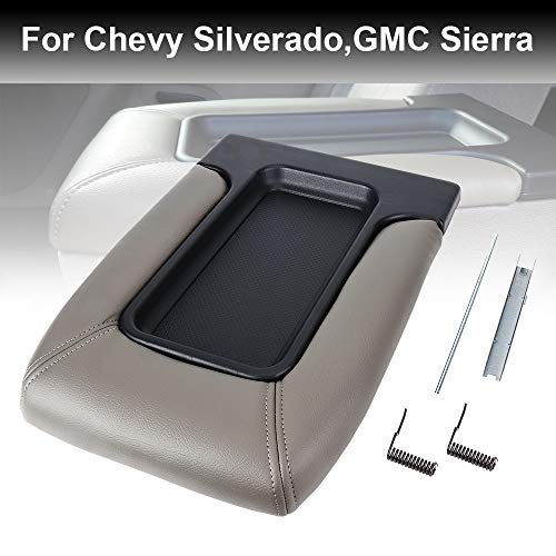 Center Console Lid for Chevy Silverado, Avalanche,Tahoe,GMC Sierra Armrest Cover Armrest Hinge Latch 19127364, Light Grey ()