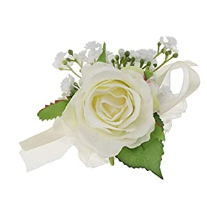 SM SunniMix Beautiful Wrist Corsage Wristband Roses Wrist Corsage for Prom, Party, Wedding White 114