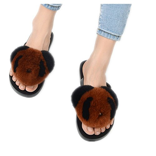 Caramel Soft Flat Rabbit Slide qmfur Women's Flop Flip Fur Slipper Panda AxqzAwX4