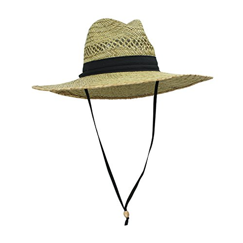 Men's Straw Outback Lifeguard Sun Hat with Wide (Mens Straw Hat)