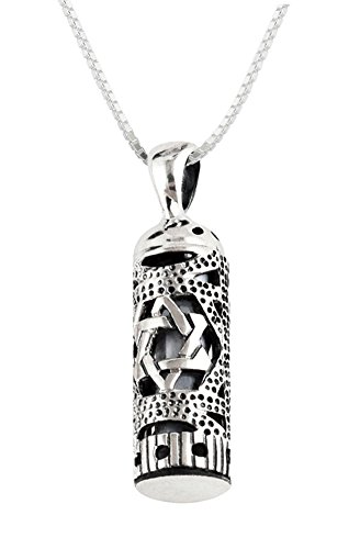 Sterling Silver Mezuzah Necklace Pendant with Star of David - 18