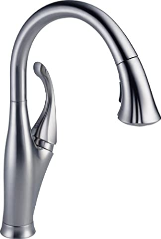 Delta Faucet 9192-AR-DST Addison Single Handle Pull-Down Kitchen Faucet with Magnetic Docking, Arctic (Pulldown Faucet Delta)