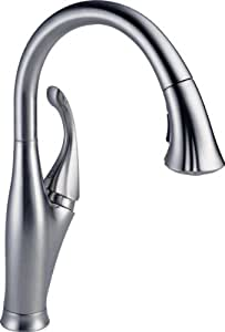 Delta Faucet 9192-AR-DST Addison Single Handle Pull-Down Kitchen Faucet with Magnetic Docking, Arctic Stainless