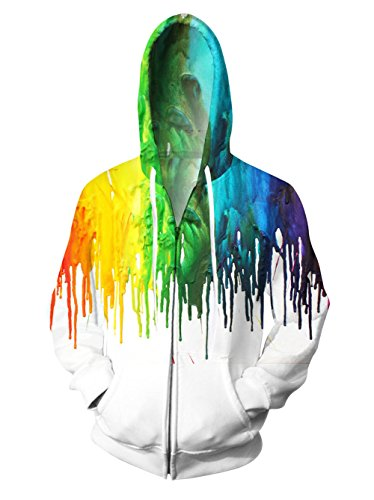 RAISEVERN Unisex Multicolored Melting Paint Hoodie Hipster Hip Hop Long Sleeve Zipper Hooded Sweatshirt Jacket Large