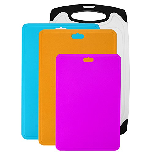 4 Pieces Cutting Board Flexible Anti-Bacterial Color Coded Cutting Boards for Kitchen,BPA-Free,Dishwasher Safe,Non-Porous,Thicken Plastic Chopping Boards Set with Juice Grooves Chopping Mats