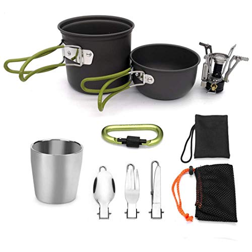 MTK Camping Cooker, Portable Ultra-Light Outdoor Camping Hiking Trekking Set Pot Set, with Cutlery, Suitable for 1 to 2 People from MTK
