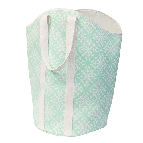 Closet Complete Large Foldable Carry-All Hamper/Tote, Teal/White