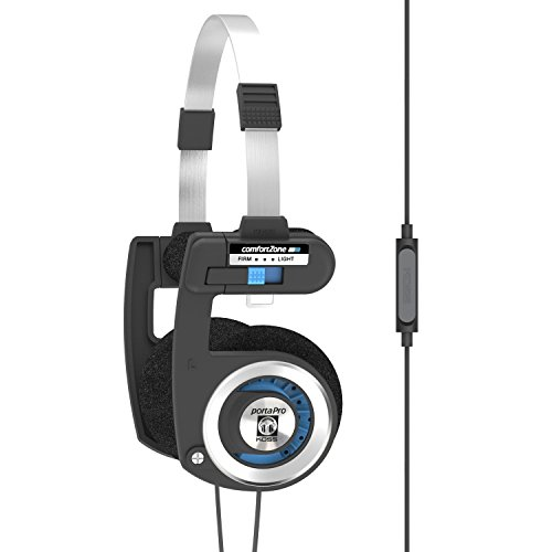 Koss Porta Pro with Microphone & Remote | On-Ear Headphones | Deep Bass | Collapsible Design