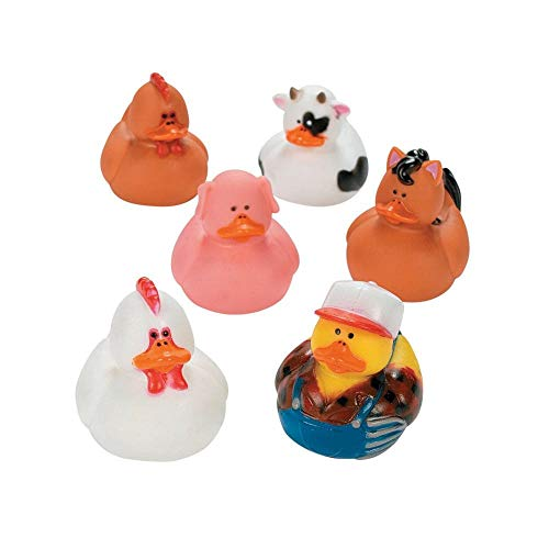 (Fun Express Farm Animal Rubber Ducks Duckies Party Favors - 12 Pieces)