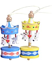 Wooden Carousel Wooden Carousel Horse Ornament Christmas Wooden Decoration for Room for Birthday