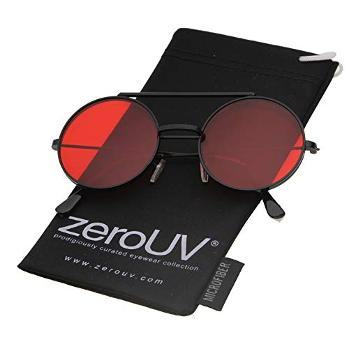 73633c81e13 Mid Size Flip-Up Colored Lens Round Django Sunglasses 49mm (Black Red)
